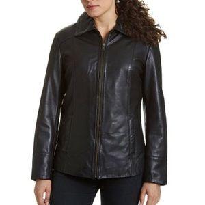 Womens LIZ CLAIBORNE Genuine Black Leather Jacket
